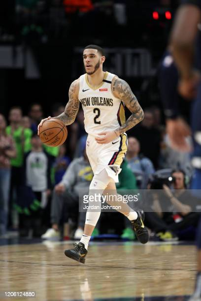 Lonzo Ball of the New Orleans Pelicans handles the ball against the Minnesota Timberwolves on March 8, 2020 at Target Center in Minneapolis,...