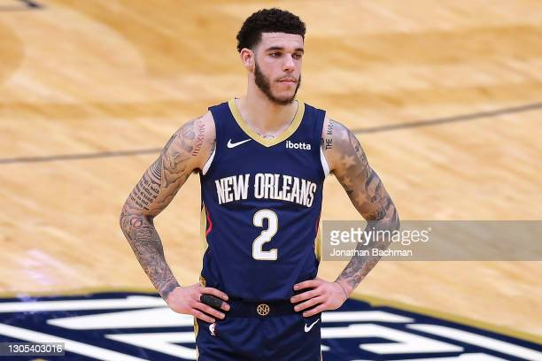 Lonzo Ball of the New Orleans Pelicans reacts against the Chicago Bulls during the first half at the Smoothie King Center on March 03, 2021 in New...