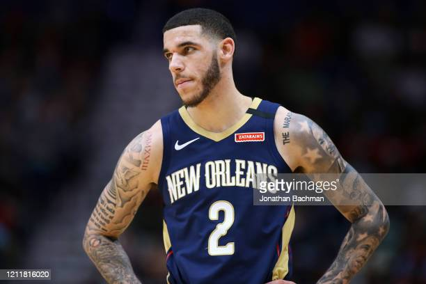 Lonzo Ball of the New Orleans Pelicans reacts against the Miami Heat during a game at the Smoothie King Center on March 06, 2020 in New Orleans,...
