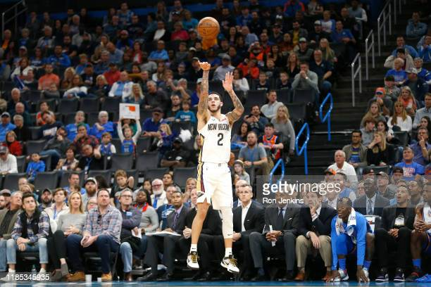 Lonzo Ball of the New Orleans Pelicans shoots the ball against the Oklahoma City Thunder during the second half at Chesapeake Energy Arena on...