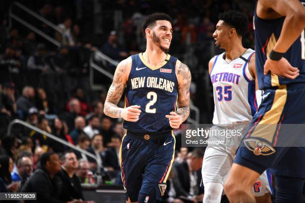 Lonzo Ball of the New Orleans Pelicans smiles during a game against the Detroit Pistons on January 13, 2020 at Little Caesars Arena in Detroit,...