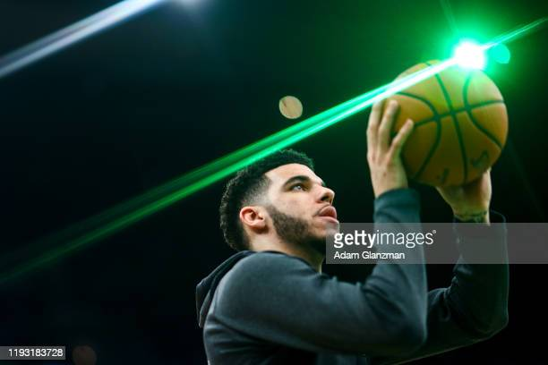 Lonzo Ball of the New Orleans Pelicans warm-up before a game against the Boston Celtics at TD Garden on January 11, 2019 in Boston, Massachusetts....