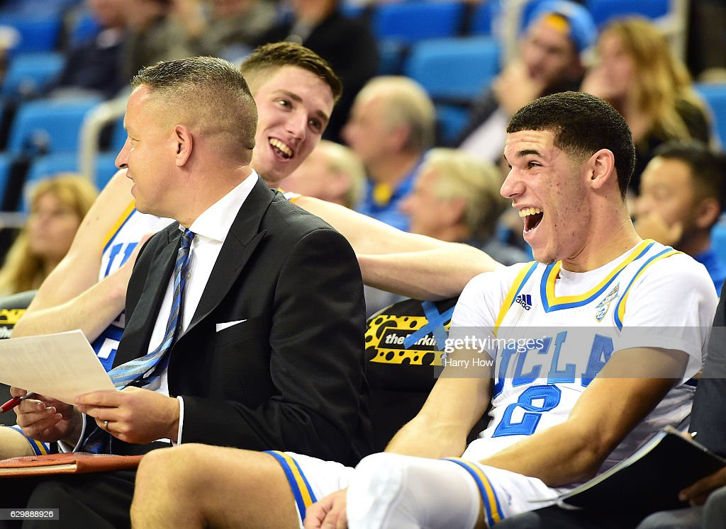 Lonzo Ball #2 of the UCLA Bruins laughs with TJ Leaf #22 during a 102-62 win over the UC Santa Barbara Gauchos at Pauley Pavilion on December 14, 2016 in Los Angeles, California.