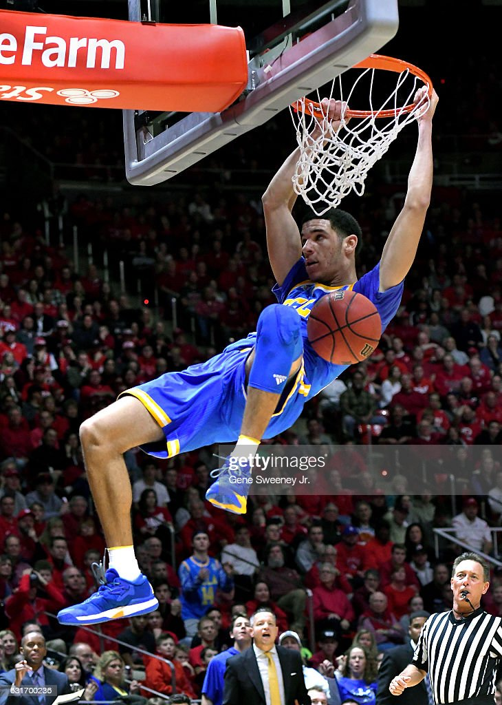 Lonzo Ball #2 of the UCLA Bruins scores two on a second half dunk as the Bruins beat the Utah Utes 83-82 at the Jon M. Huntsman Center on January 14, 2017 in Salt Lake City, Utah.