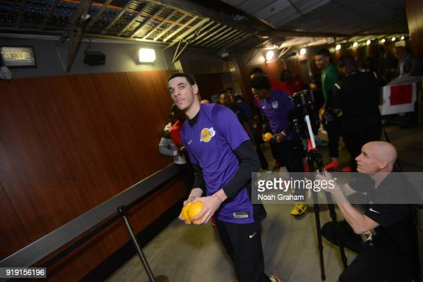 Lonzo Ball of the US Team prepares for the Mtn Dew Kickstart Rising Stars Game during AllStar Friday Night as part of 2018 NBA AllStar Weekend at the...