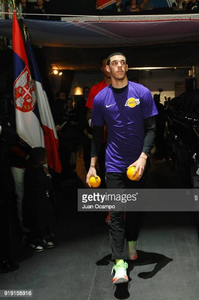 Lonzo Ball of the US Team walks to the court prior to the Mountain Dew Kickstart Rising Stars Game during AllStar Friday Night as part of 2018 NBA...
