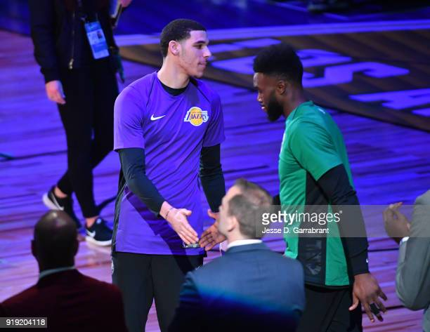 Lonzo Ball of the USA Team greets players against the World Team during the Mountain Dew Kickstart Rising Stars Game during AllStar Friday Night as...