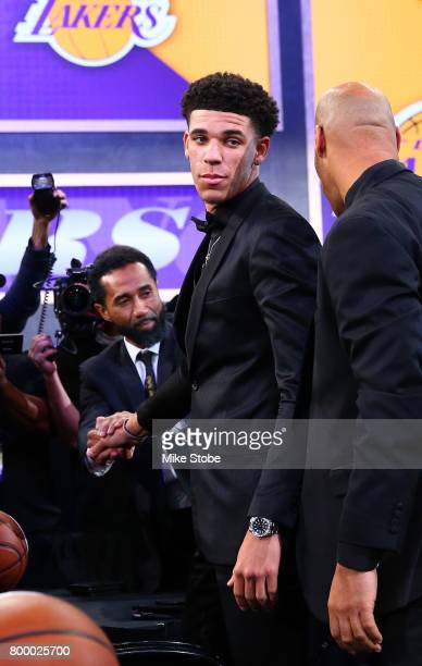 Lonzo Ball reacts after being drafted second overall by the Los Angeles Lakers during the first round of the 2017 NBA Draft at Barclays Center on...