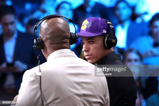 Lonzo Ball speaks to media after being drafted second overall by the Los Angeles Lakers during the first round of the 2017 NBA Draft at Barclays...