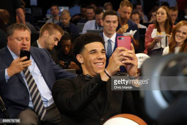 Lonzo Ball takes a selfie prior to the 2017 NBA Draft on June 22 2017 at Barclays Center in Brooklyn New York NOTE TO USER User expressly...