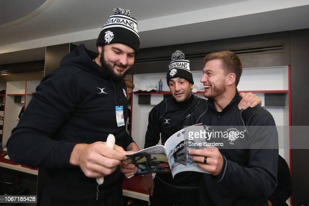 Lood de Jager Juan Manuel Leguizamon and Handre Pollard of the Barbarians in the Barbarians dressing room prior to the Killick Cup match between...