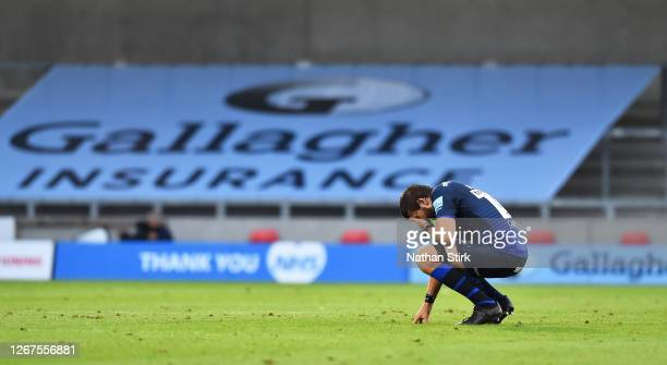 Lood de Jager of Sale Sharks looks dejected after the Gallagher Premiership Rugby match between Sale Sharks and Exeter Chiefs at on August 21 2020 in...