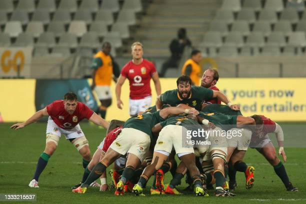 Lood de Jager of South Africa controls the rolling maul during the 3rd Test between South Africa and the British & Irish Lions at FNB Stadium on...