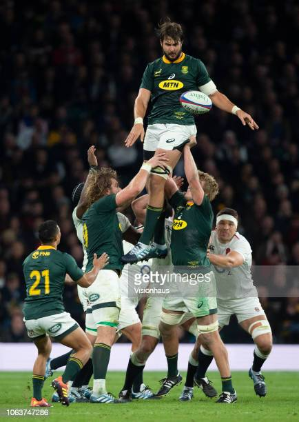 Lood De Jager of South Africa during the Quilter International match between England and South Africa at Twickenham Stadium on November 03 2018 in...