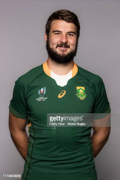 Lood de Jager of South Africa poses for a portrait during the South Africa Rugby World Cup 2019 squad photo call on September 15, 2019 in Tokyo,...