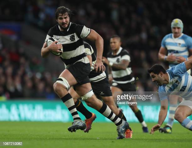 Lood de Jager of the Barbarians breaks to score a second half try during the Killik Cup match between the Barbarians and Argentina at Twickenham...