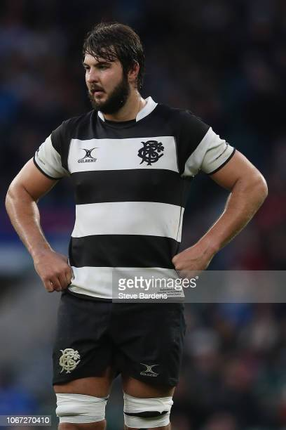 Lood de Jager of the Barbarians during the Killick Cup match between Barbarians and Argentina at Twickenham Stadium on December 1 2018 in London...