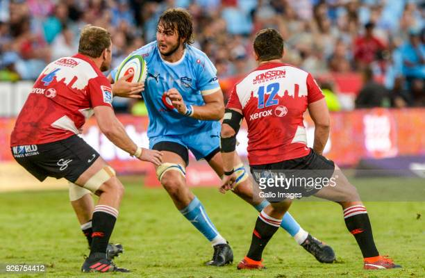 Lood de Jager of the Bulls challenged by Andries Ferreira of the Lions and Rohan Janse Van Rensburg of the Lions during the Super Rugby match between...