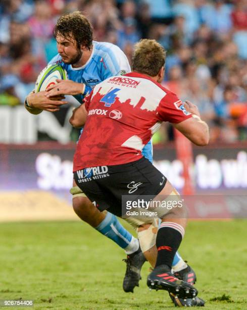 Lood de Jager of the Bulls challenged by Andries Ferreira of the Lions during the Super Rugby match between Vodacom Bulls and Emirates Lions at...
