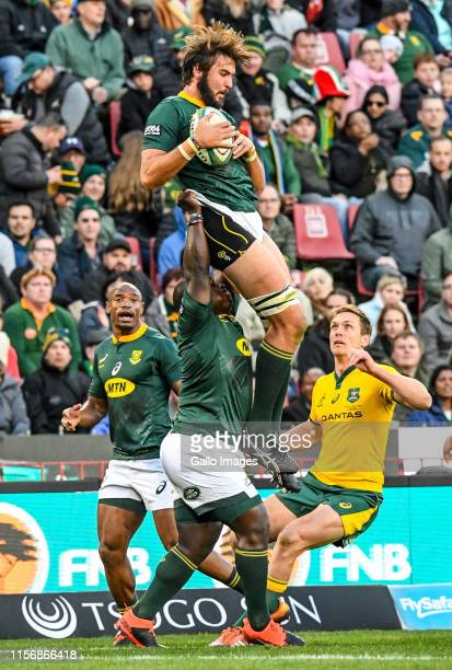 Lood de Jager of the Springboks wins possession during the The Rugby Championship match between South Africa and Australia at Emirates Airline Park...