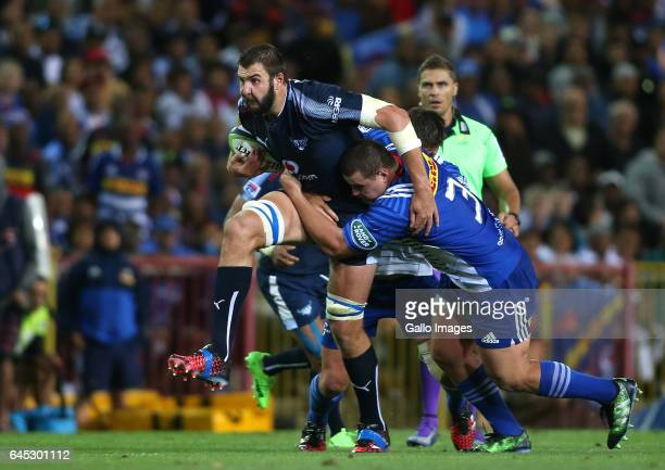 Lood de Jager of the Vodacom Bulls attempts to break Wilco Louw of the Stormers tackle during the Super Rugby match between DHL Stormers and Vodacom...