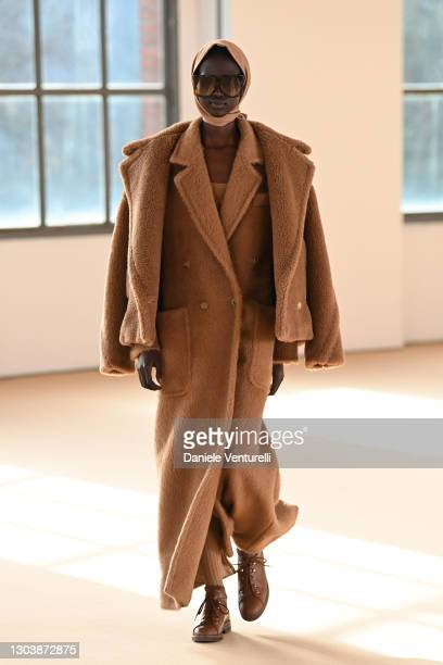 Look 1 at the Max Mara Fall/Winter 2021-2022 show during Milan Fashion Week on February 25, 2021 in Milano, Italy.