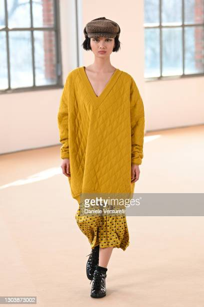 Look 37 at the Max Mara Fall/Winter 2021-2022 show during Milan Fashion Week on February 25, 2021 in Milano, Italy.