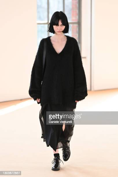 Look 42 at the Max Mara Fall/Winter 2021-2022 show during Milan Fashion Week on February 25, 2021 in Milano, Italy.