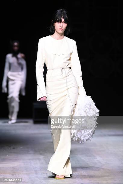 Look 46 at the Sportmax Fall/Winter 2021-2022 show during Milan Fashion Week on February 27, 2021 in Milano, Italy