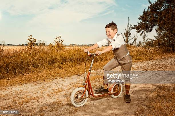 Look Alike From Little Rascals - Alfalfa Riding His Scooter