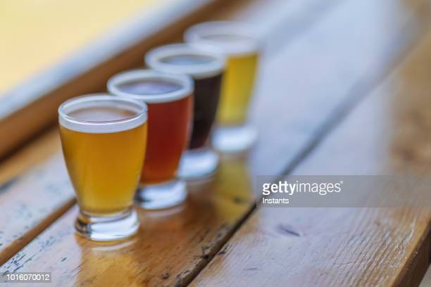 a look at a four beer flight which contains stout, ipa, red and lager beers. - ale stock pictures, royalty-free photos & images