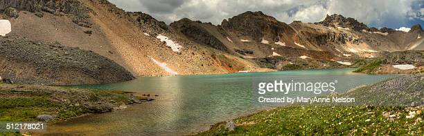 look at a high lake - mary lake stock photos and pictures