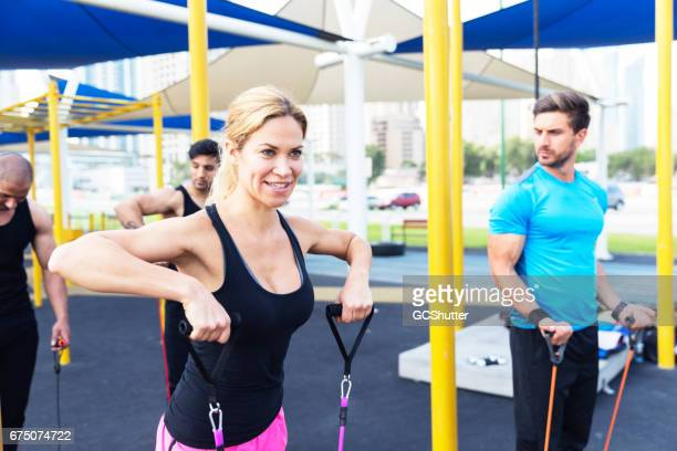 Look at me and learn how to exercise using resistance band