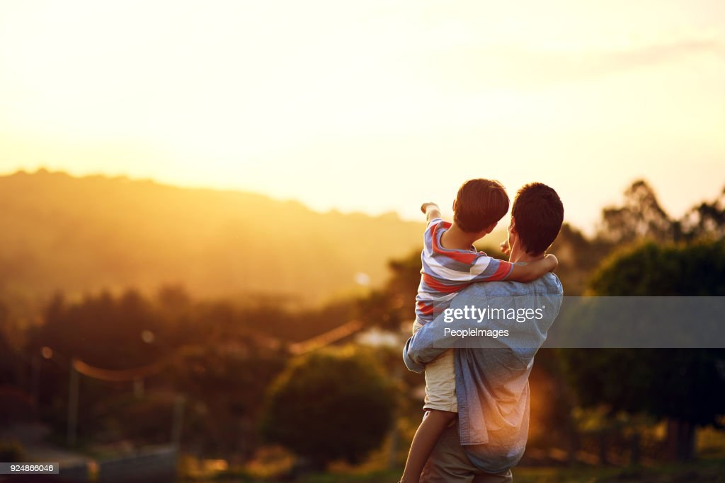 Look at that, Dad : Stock Photo