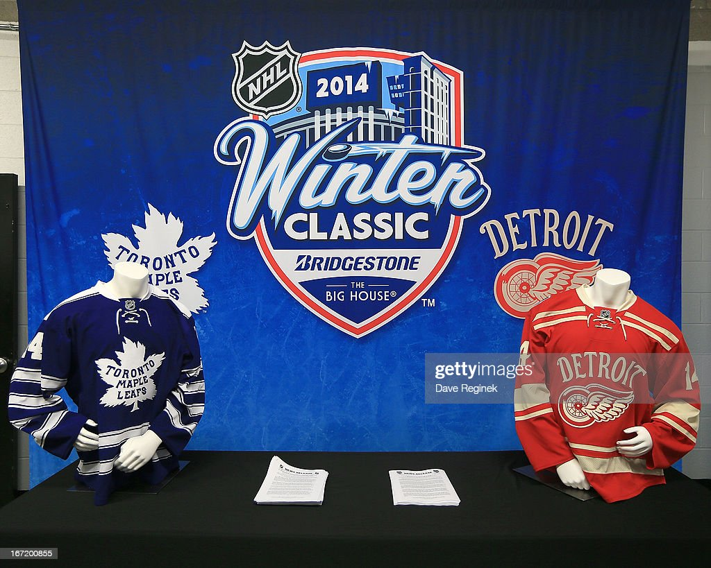 A look at the 2014 NHL Winter Classic jersey's displayed at the Press Announcement on April 7, 2013 at Joe Louis Arena in Detroit, Michigan.