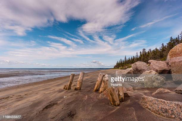 a look at the beach of pointe aux outardes, meaning bustard bay, situated in côte-nord manicouagan peninsula. - coastline stock pictures, royalty-free photos & images