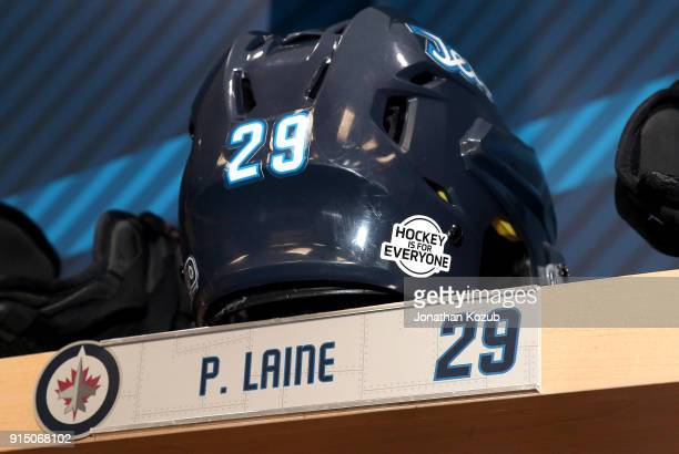 A look at the helmet for Patrik Laine of the Winnipeg Jets which sports the Hockey Is For Everyone decal prior to NHL action against the Arizona...