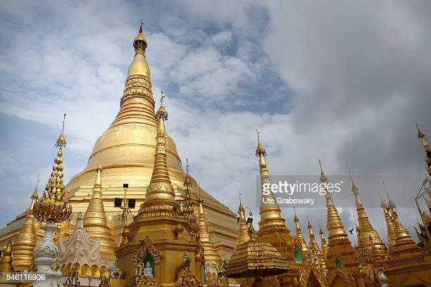 Look at the Shwedagon Pagoda the most important religious building of Myanmar on June 16 2016 in Yangon Myanmar
