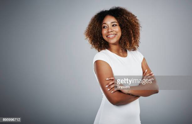 i look back and smile at how far i've come - black women stock photos and pictures