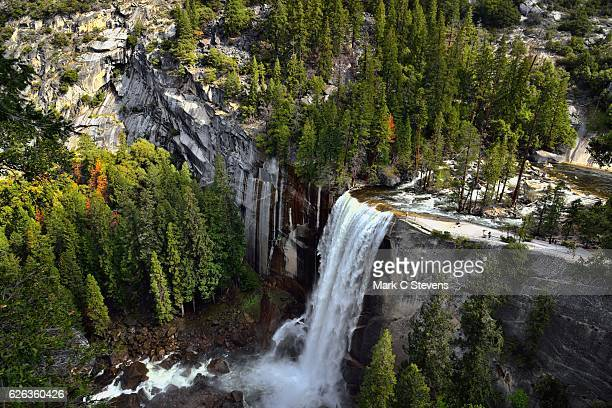 a look down onto vernal falls along the john muir trail - john muir trail stock photos and pictures