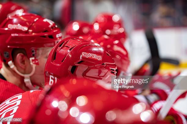 A look down the Detroit Red Wings bench during an NHL game against the Los Angeles Kings at Little Caesars Arena on December 10 2018 in Detroit...