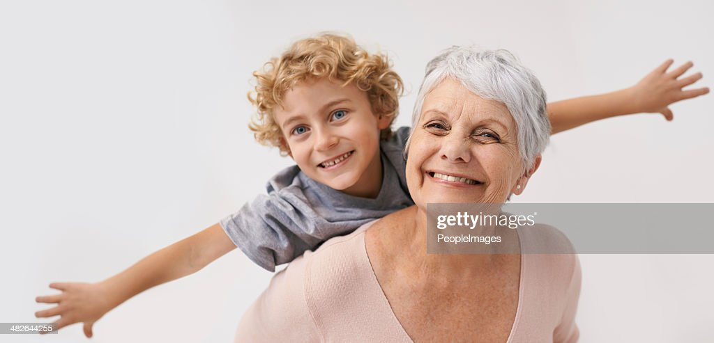 Look Gran, i can fly! : Stock Photo