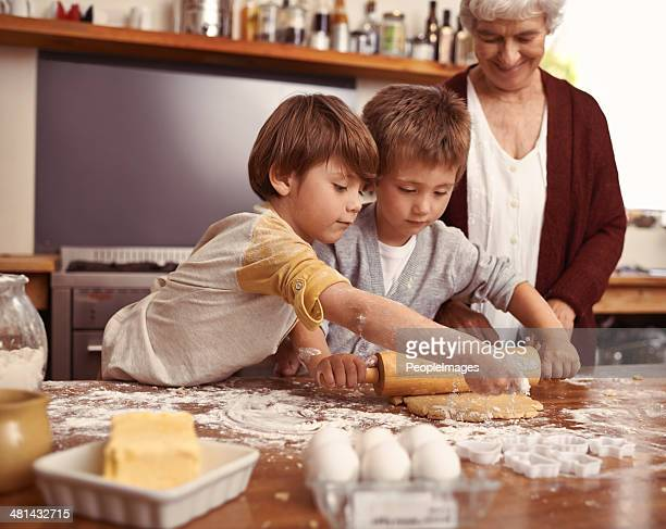 Look gran, we're making the cookies ourselves!