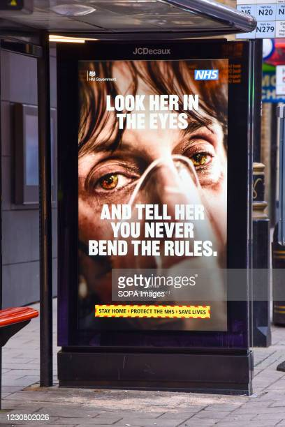 Look her in the eyes and tell her you never bend the rules poster seen at Leicester square station. England remains under lockdown as the government...