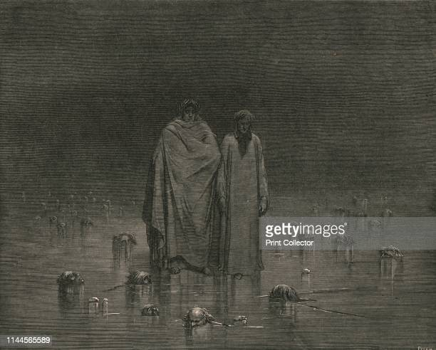 """""""Look how thou walkest. Take good heed, thy soles do tread not on the heads of thy poor brethren""""', circa 1890. Dante and the Roman poet Virgil walk..."""
