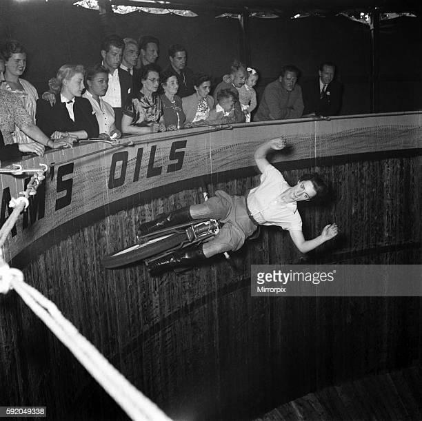 Look mum no hands! Maureen Swift, Wall of death rider. June 1952 C3335-001