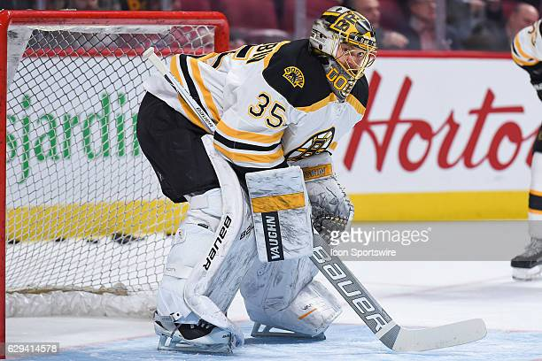 Look on Boston Bruins Goalie Anton Khudobin at warmup before the Boston Bruins versus the Montreal Canadiens game on December 12 at Bell Centre in...