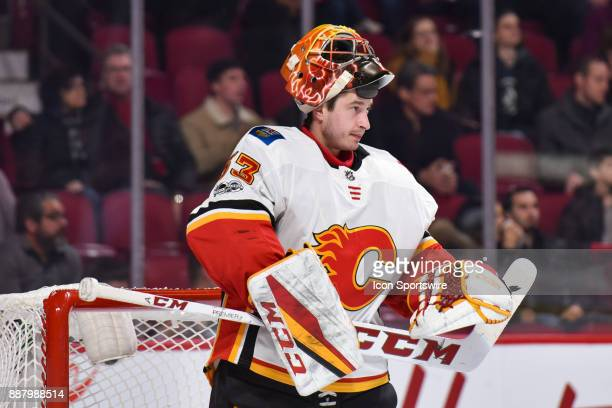 Look on Calgary Flames Goalie David Rittich with his helmet up during the Calgary Flames versus the Montreal Canadiens game on December 7 at Bell...