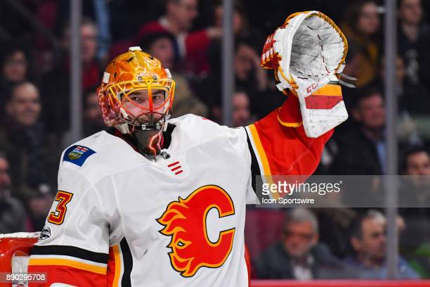 Look on Calgary Flames Goalie David Rittich with his left arm in the air during the Calgary Flames versus the Montreal Canadiens game on December 7...