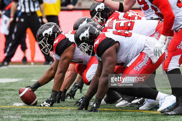 Look on Calgary Stampeders offensive line during the Calgary Stampeders versus the Montreal Alouettes game on October 8 at Percival Molson Memorial...